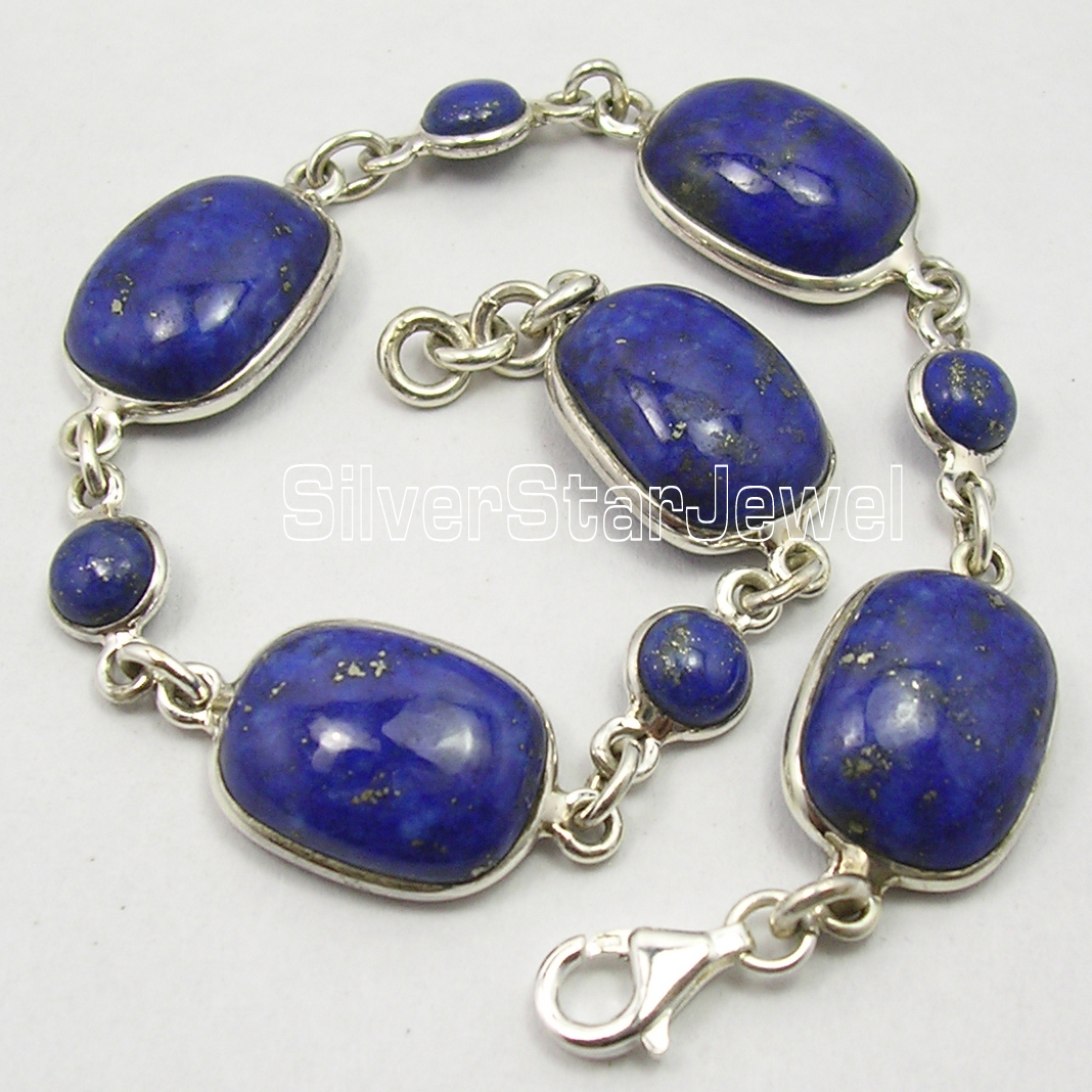 Chanti International argent massif authentique LAPIS LAZULI pierres NOUVEAU ART lourd Bracelet 8 3/8