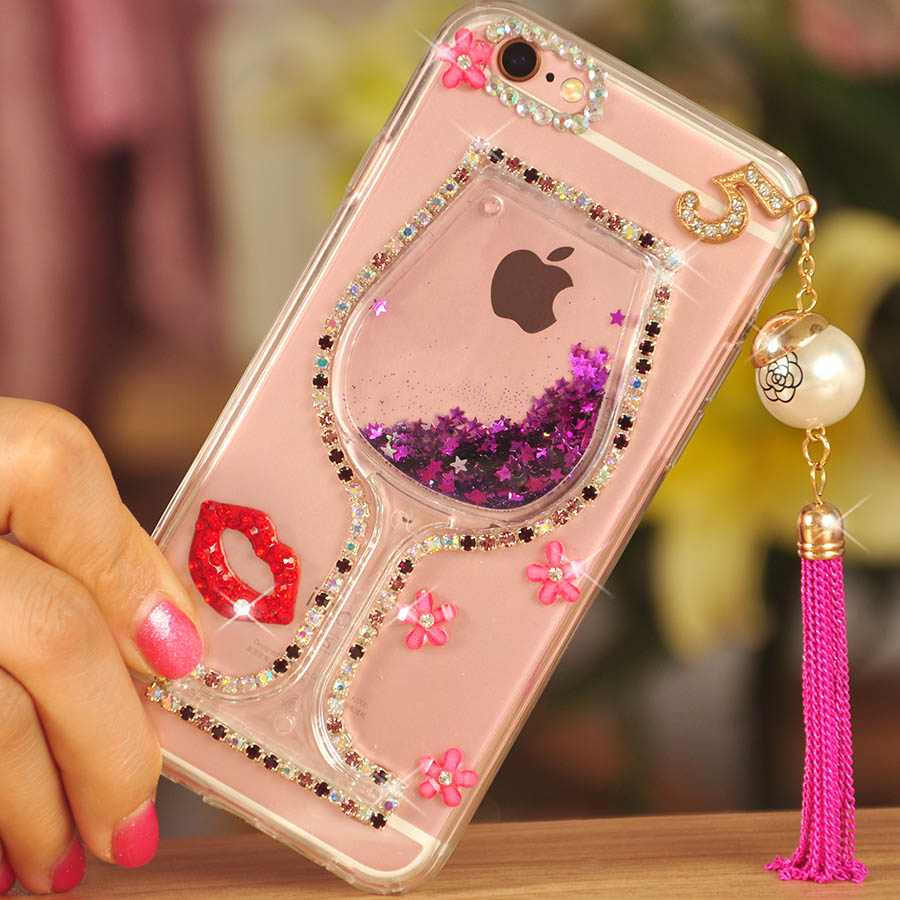 big sale 4de85 81d9b US $9.99 |New Girl Woman Wine Cup+3D Bling Glitter Diamond Quicksand Phone  Case Cover For Motorola Moto Z/C/G2 G3 G4 G5 Plus/z2 play/E3/E4-in ...
