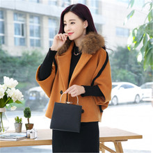 Short Autumn Cloak Cashmere Wool Blends Women Patchwork Warm Winter Poncho Outerwear Femme Half Batwing Sleeve Woolen Coat XH744(China)