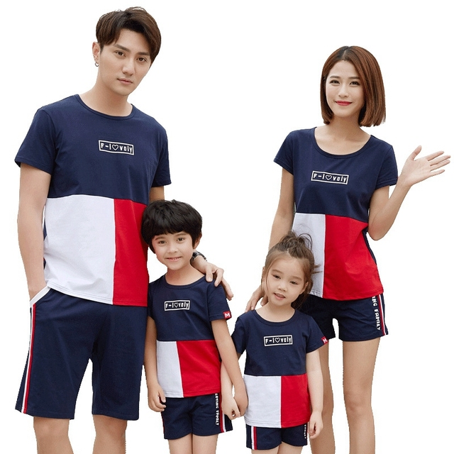 daed065c007f3 US $11.23 24% OFF|Family Matching Outfits 2018 Summer Contrast Color Cotton  T shirt+Pants Family Look Clothes Mom Daughter Dad Son Lovers Clothes-in ...