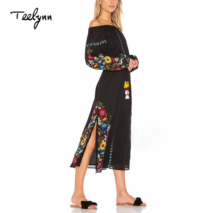 TEELYNN Boho dress 2018 black Floral Embroidery sexy off the shoulder Side slit long sleeve dresses