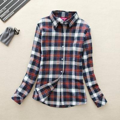2017 hot sprzedaż jesień zima panie kobieta casual cotton lapel bluzka bluzki z długim rękawem kratę koszula kobiet szczupła odzieży wierzchniej clothing 27