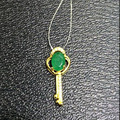 2017 Collier Qi Xuan_fine Jewelry_natural Colombian Emeralds Key Necklaces_s925 Solid Pendant Necklaces_factory Directly Sales