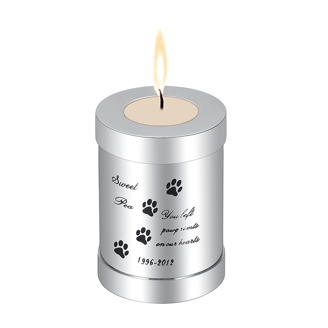 Klh99 75mm Height Stainless Steel Pet Memorial Candle Holder Pet Urn