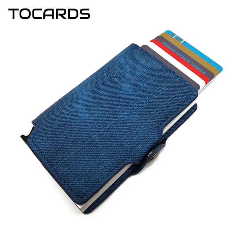 RFID 2018 New Cowboy Credit ID Card Holder Retro Vintage Aluminum Denim Leather Wallet Card Case Mini Purse For Men Women