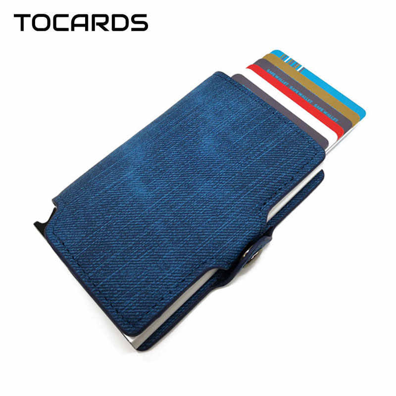 RFID Blocking 2019 Cowboy Credit ID Card Holder Retro Vintage Aluminum Denim Leather Wallet Card Case Mini Purse for Men Women