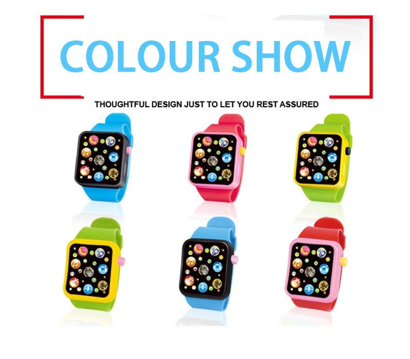 6 цветов, детская игрушка для раннего развития, наручные часы, 3D сенсорный экран, музыка, умное обучение, Лидер продаж, подарки на день рождения