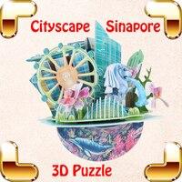 Yeni Varış Hediye Singapur Cityscape 3D Bulmaca Model Oluşturma Oyuncaklar Çocuk DIY Aile Iş Oyunu Eğitim Öğrenme Için Hatıra