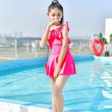 Rhyme Lady   Bathing suit  2018 kids Monokini  Children Swimsuit One Piece Summer Beachwear Swim suit Girls Print Dress Swimwear цена