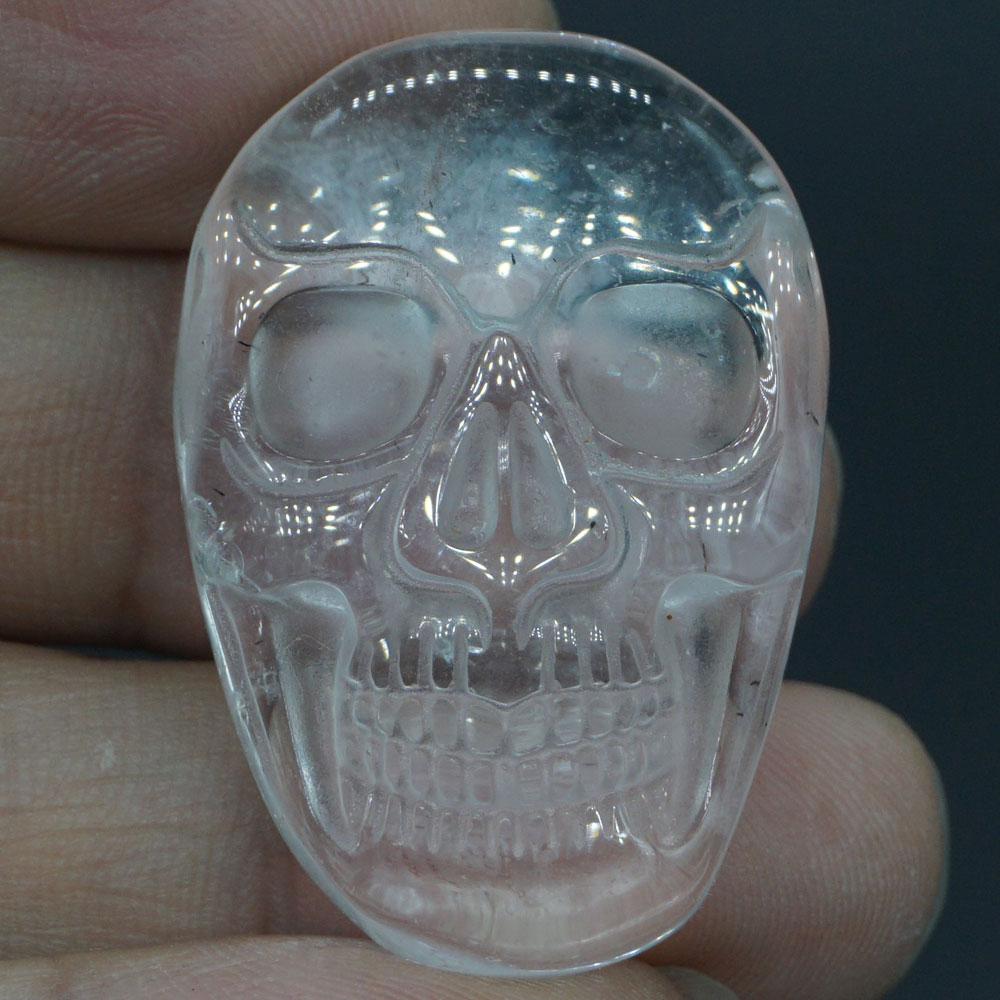 1 37 quot Natural Gemstone Clear Quartz Carved Stone Skull Cab Cabochon Figurine Statue 1 Piece in Statues amp Sculptures from Home amp Garden