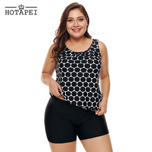 68d7764f403b3 Hotapei Plus Size Swimwear Black White Polka Dot Tank Top and Short Tankini  Swimsuit women 2PCS bathing suit Swim Wear LC410689