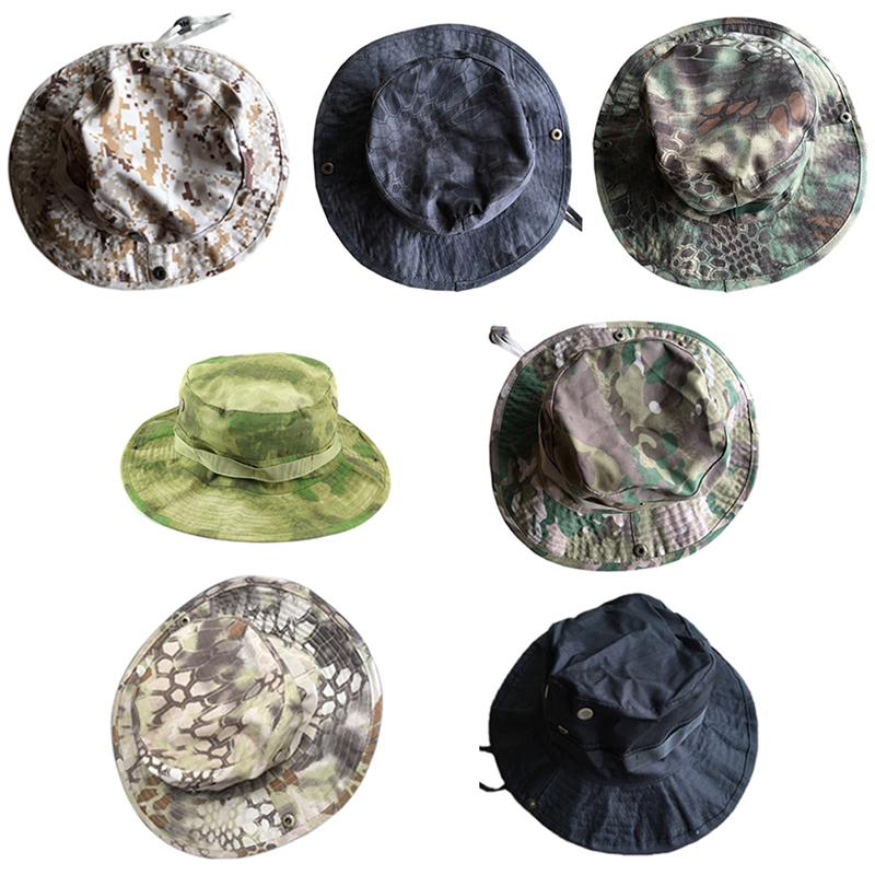 1Pc Unisex Bucket Hats Jungle Military Camouflage Camo Hat Fishing Barbecue Cotton Mountain Climbing Hat