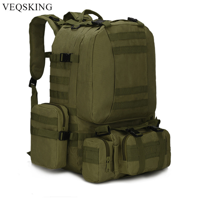 Detachable Outdoor MOLLE Tactical Backpack,50L Large Capacity Travel Climbing Hiking Bag,5Colors Military Army Backpacks