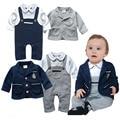 Otoño del resorte de la boda trajes para bebés ropa del mameluco recién nacido ropa apuesto set costume dress infantil-ropa de abrigo