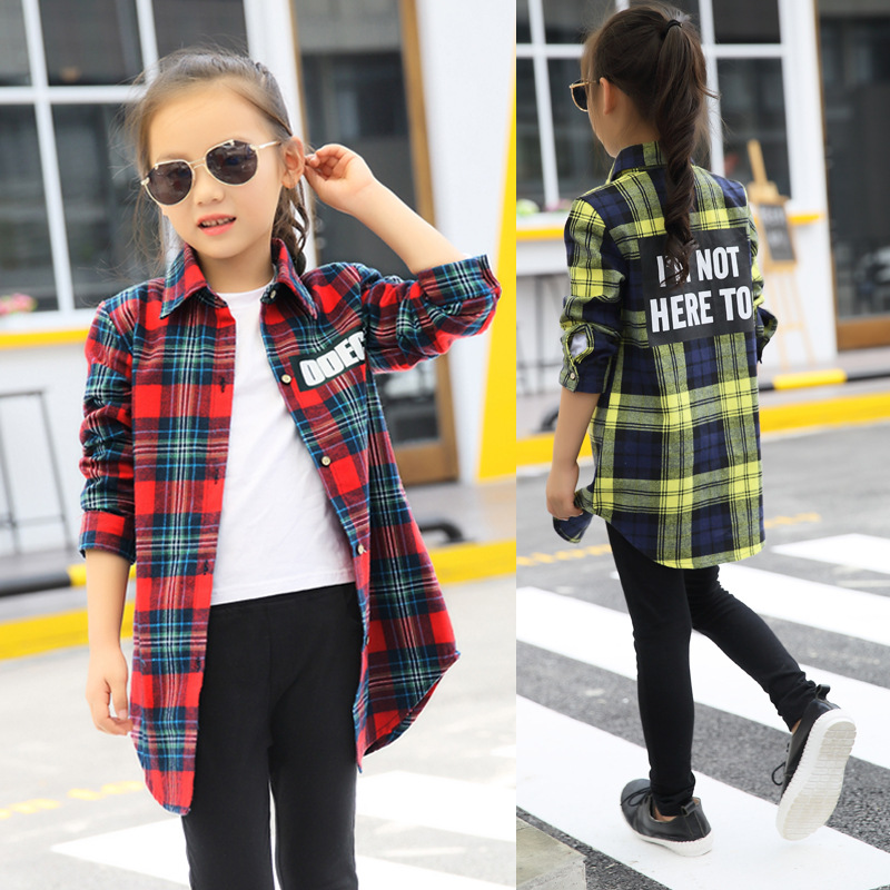 Blouses   Baby Girl 2018 Autumn Cotton   Shirt   for Teens Kids Plaid   Blouse   Big Size 4 6 8 10 12 14 16 Years Girl Clothes Tenages