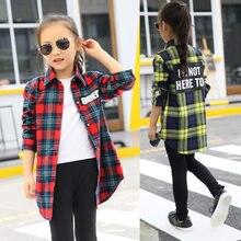 a47cd3d08 Blusas bebé niña otoño 2018 Camisa de algodón para adolescentes niños Plaid  blusa de gran tamaño 4 6 8 10 12 14 ropa de 16 años .