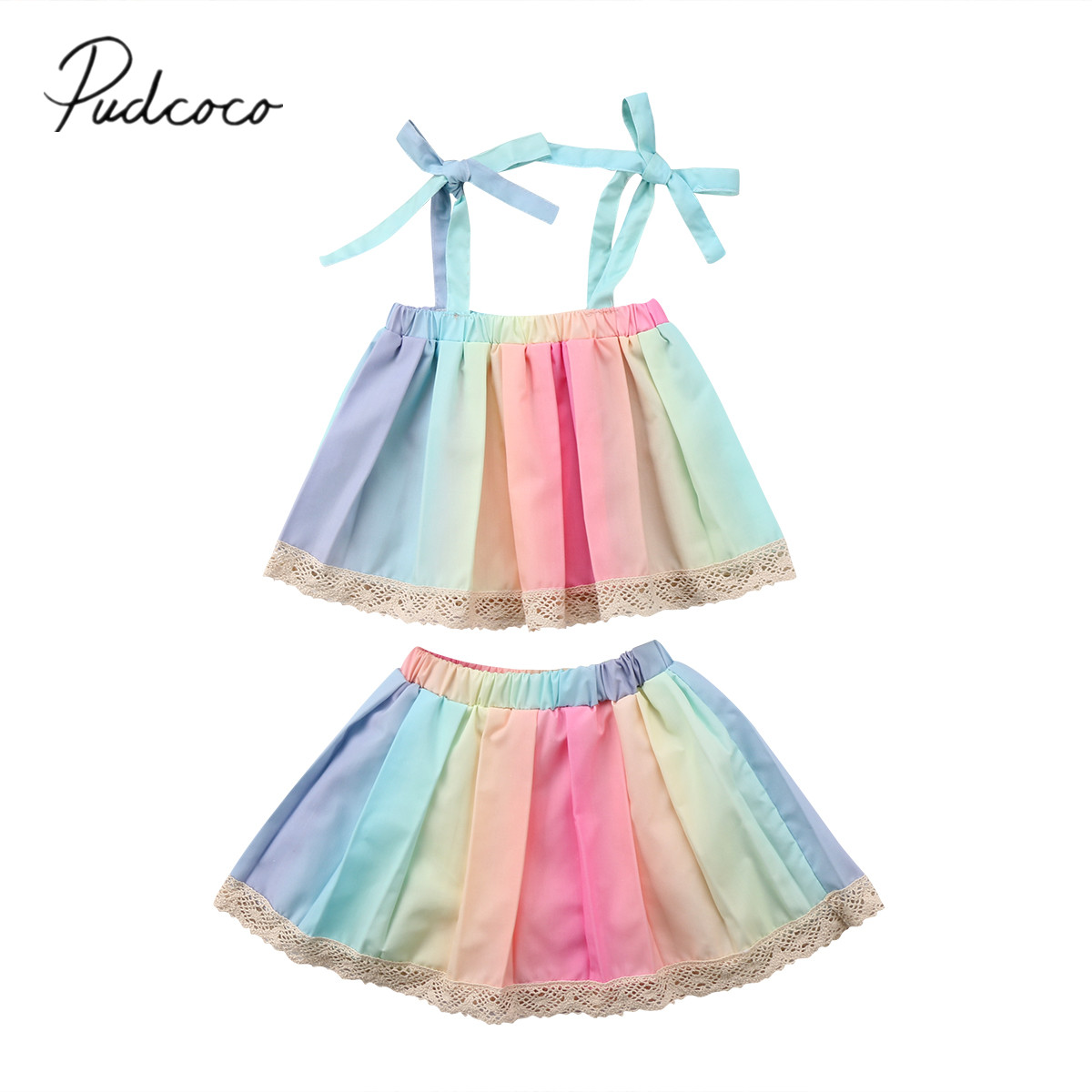 2018 Brand New 2PCS Toddler Infant Kids Baby Girl Outfits Tank Tops Tutu Skirt Sets Lace Rainbow Colorful Summer Clothes 1-5T new born baby girl clothes leopard 3pcs suit rompers tutu skirt dress headband hat fashion kids infant clothing sets