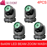 4pcs /lot disco pro dj equipment moving head wash 6x40w led rgbw bee eye moving head zoom floower lighting