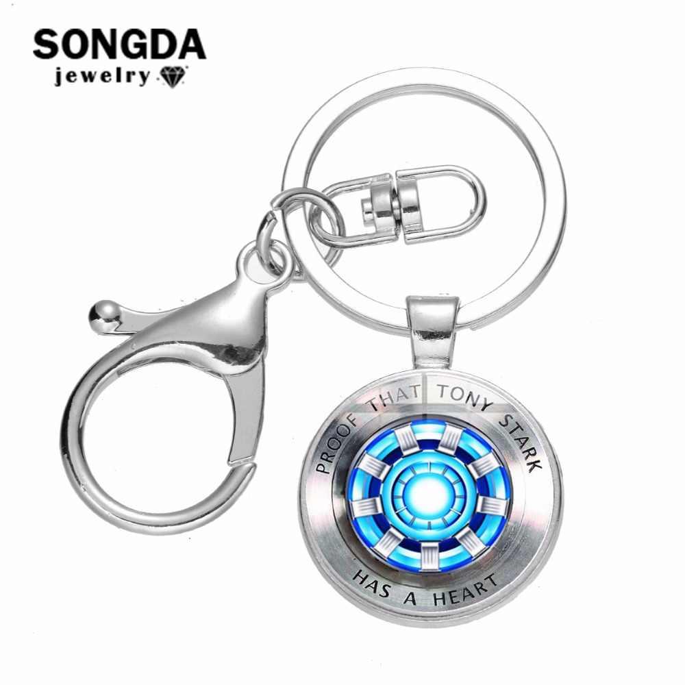 SONGDA Marvel Tony Stark Homem De Ferro Chaveiro Coração Rodada de Cristal de Vidro Chaveiro Filme The Avengers 4 Endgame Reino Quântico jóias