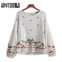 Vintage Ethnic Floral Embroidered Blouse Shirt Women 2018 New Fashion Long Puffy Sleeves Back Button Blouses