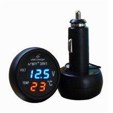 Новейший 3 в 1 цифровой светодиодный Вольтметр термометр Автомобильный USB зарядное устройство 12 В/24 В измеритель температуры вольтметр прикуриватель