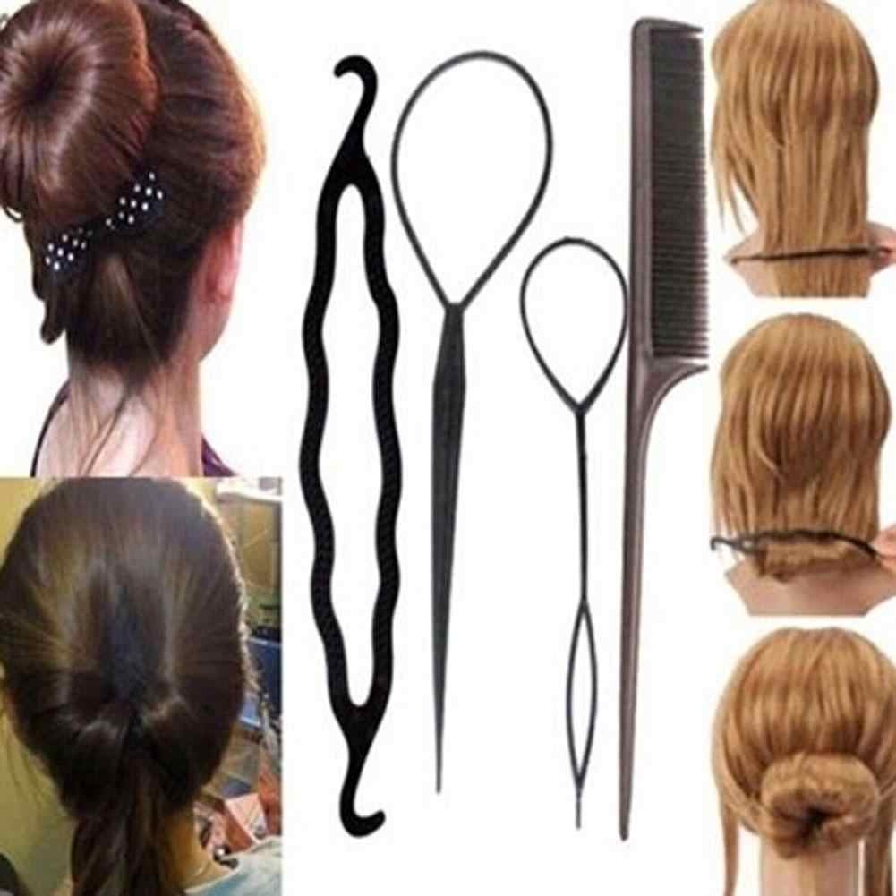 2019 HOT SALE Four Pieces Plastic Pull Hair Needle Dish Hair Tools DIY Hair Styling Accessories Sets Ponytail Maker