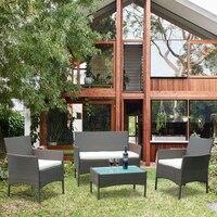 Современные набор мебели для приусадебного участка уличный диван из ротанга Комплект стул и стол Лидер продаж поли мебель для дачи из ротан