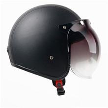купить HOT SELL black leather Motorcycle Helmet Retro Vintage Cruiser Chopper Scooter Cafe Racer Moto Helmet 3/4 Open Face Helmet недорого