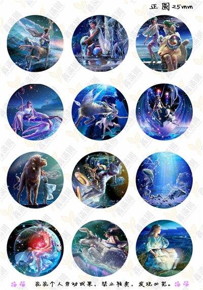 (12 Teile/los) 25mm Runde Cabochons Mischen Tierzeichen/engel/cartoon Zeichen Bild Transparent Glas Cabochon Schmuck Erkenntnisse Xl2585 Verkaufspreis