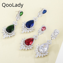 QooLady Classic 4 Colors Green Bule Red Cubic Zircon Stone Fashion Long Big Water Drop Wedding Jewelry Earrings for Brides E010 cwwzircons brand clear cubic zircon long big wedding necklace sets jewelry accessories for brides t162