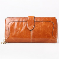 New Oil Wax Leather Long Section Ladies Leather Wallet Large Capacity Women S Hand Bag Wallet