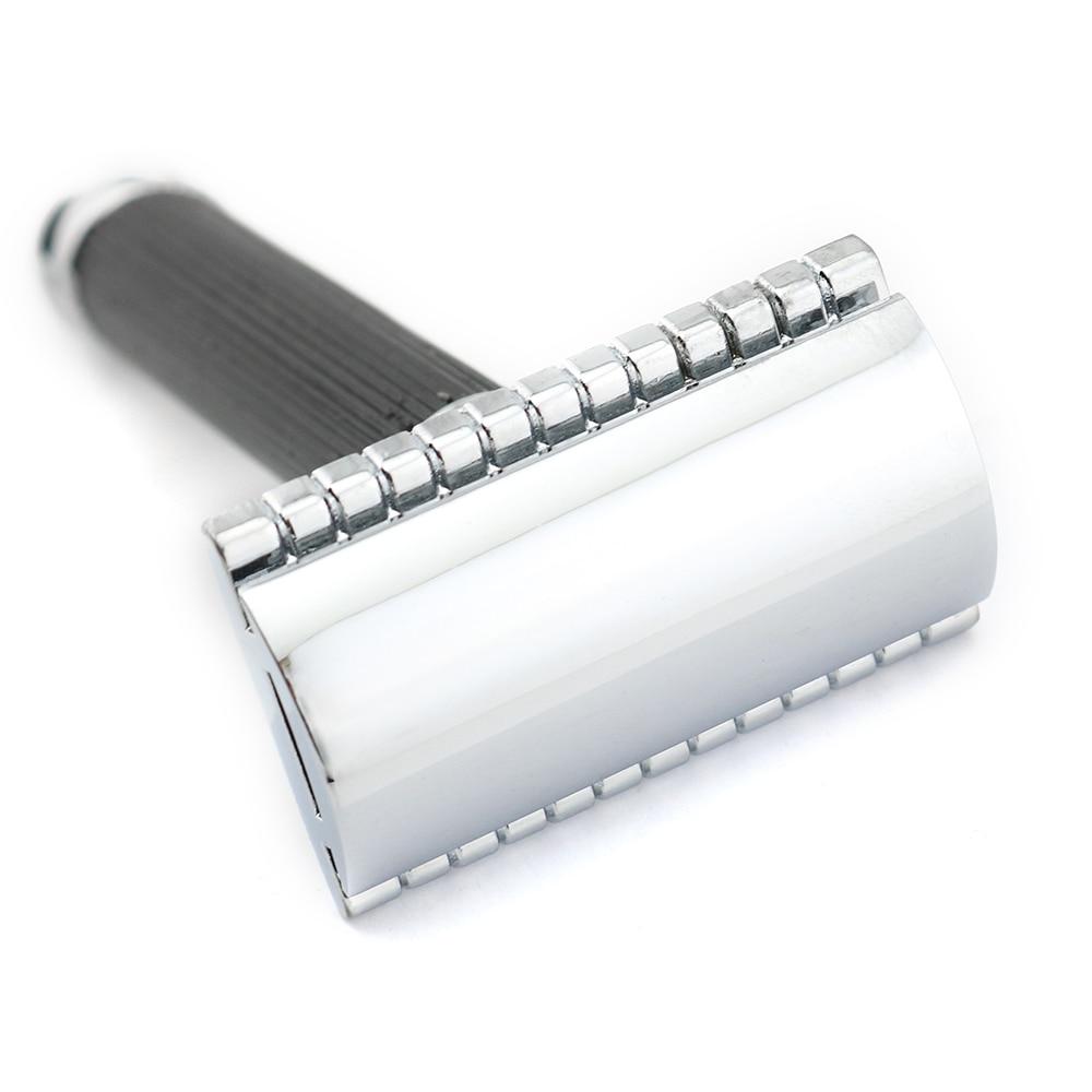 Double Edge Safety Razor Shaving Razor Black Handle Manual Razor Classic Style 9.8CM Anti Slip handle Lyrebird H4 NEW