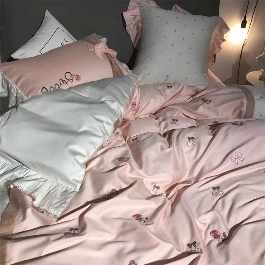 מזרחי רקמת 100% כותנה ורוד לבן חמוד מודרני מלך מלכת סט מצעי שמיכה ציפות כיסוי גיליון מיטת נסיכה #346