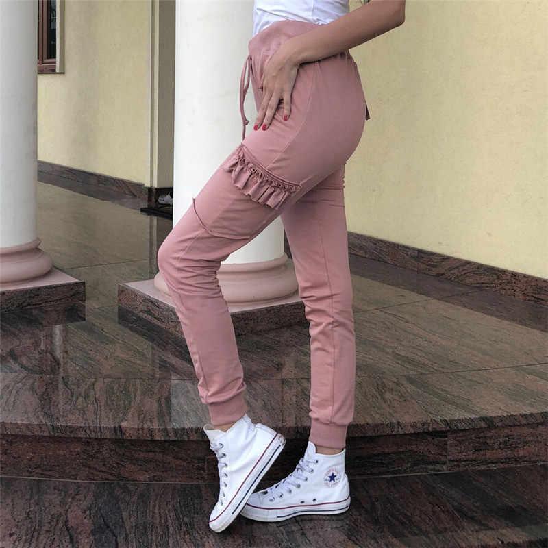 Новые модные женские туфли Повседневное карандаш брюки оборками узкие  обтягивающие брюки хаки розовые длинные штаны 5bce3c1743c