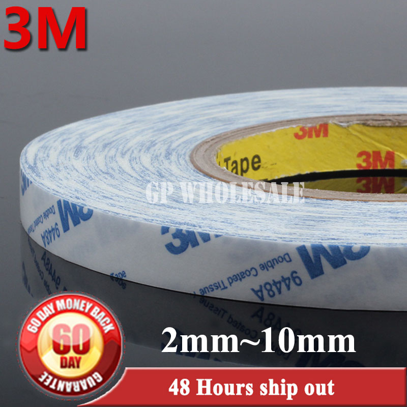 50M/Roll (2mm~10mm wide choose,) 3M Scotch Strong Double Sided Adhesive Tissue Tape for iphone ipad Huawei Phone Screen LCD 15mm wide 50m long 3m double sided adhesive black ribbon tape for iphone ipad galaxy huawei tablet touch panel lcd bond