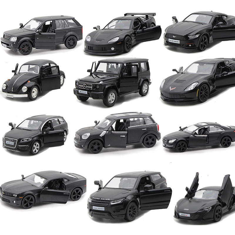 12 Styles 1:36 Black Model Car Simulation Vehicles Diecast Alloy Metal For Chevrolet Camaro AMG G63 Beetle Range Rover Toy V031