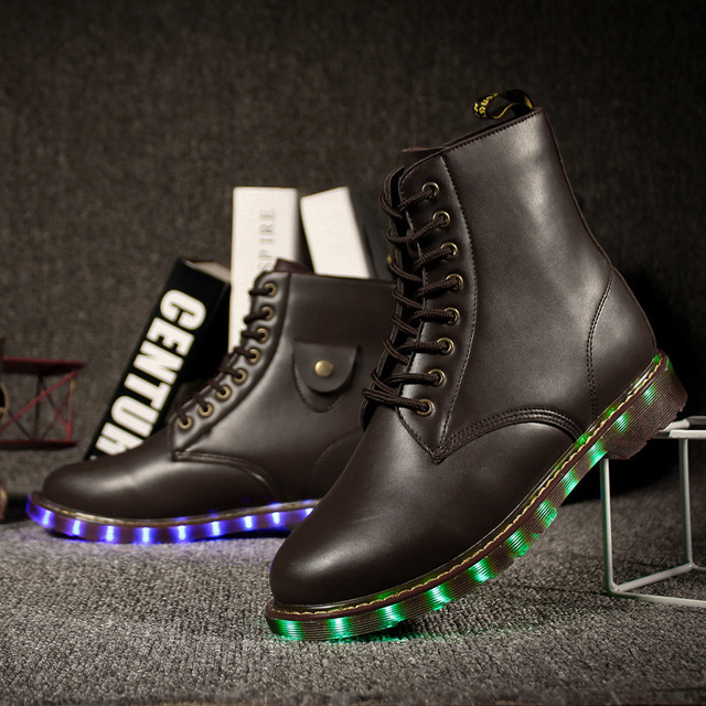 LED Light Up High Heel Sport Shoes Fluorescent Shoe USB Rechargeable Pigskin Luminous Hiking Sneaker Glow Sapatos Footwear