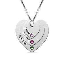 8e225e7e5a68 Al por mayor collar Triple del corazón con Birthstones plata esterlina grabado  nombre Necklce joyería de la madre