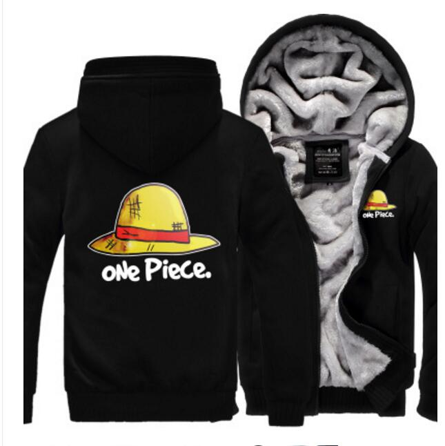 One Piece Luffy Straw Hat Skull Cosplay Costume winter Hoodie law thicken fleece jacket coat
