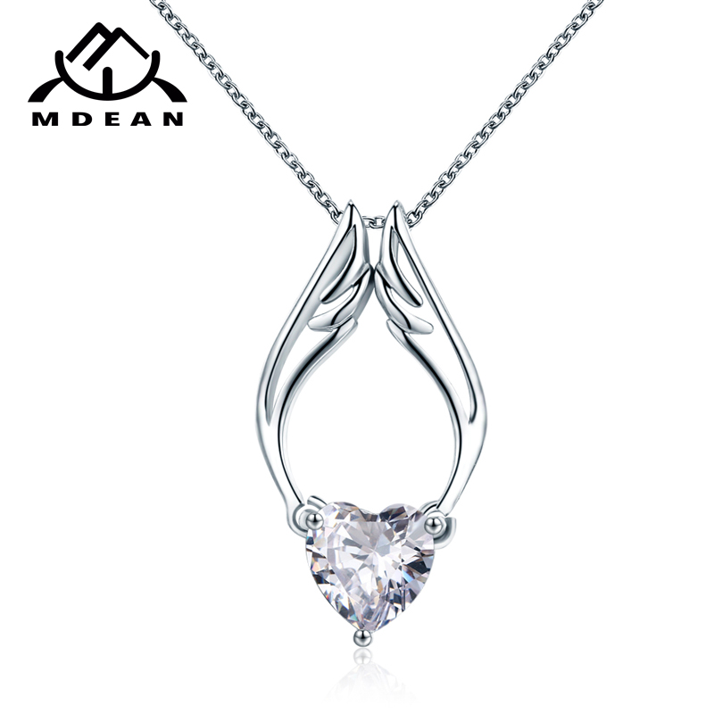 MDEAN White Gold Color Jewelry Heart AAA Zircon Jewelry
