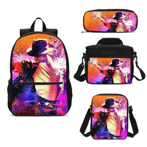 Майкл Джексон супер звезда Танцор 4 шт. сумка набор детский Стропы мужской рюкзак ручка мешок льда Mujer Bolsa Escolar Bolsas Termica