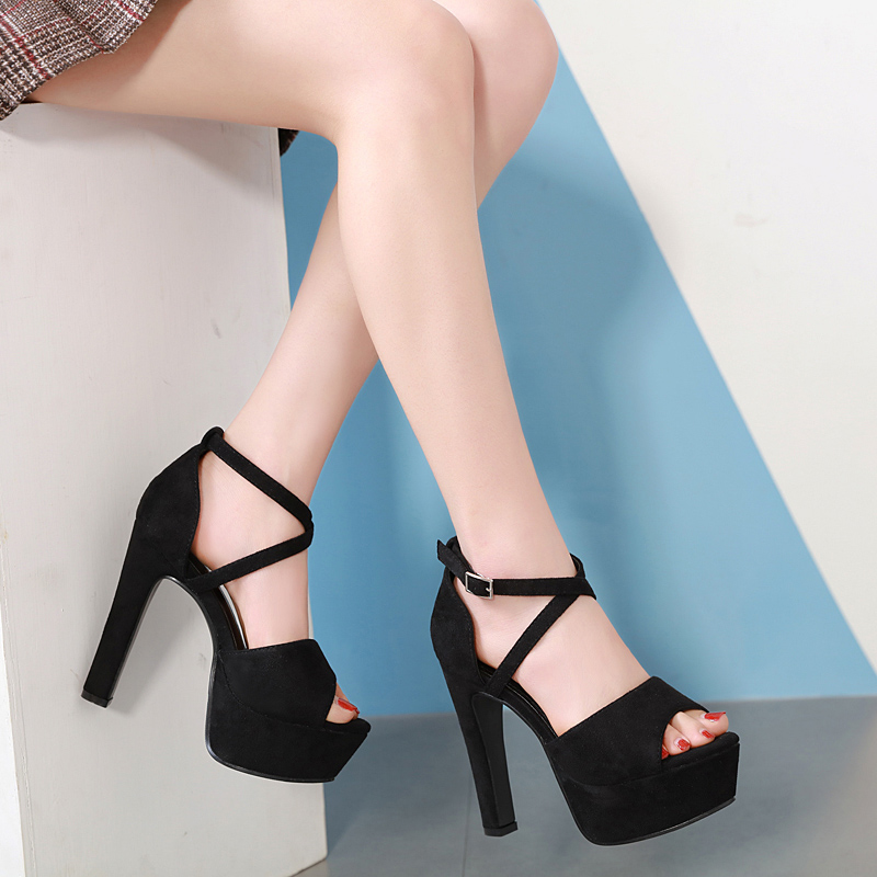 cross strap buckle Sandals Woman Chunky heels Slides peep toe Shoes platform pump summer high heel shoes black zapatos mujer cross strap buckle Sandals Woman Chunky heels Slides peep toe Shoes platform pump summer high heel shoes black zapatos mujer
