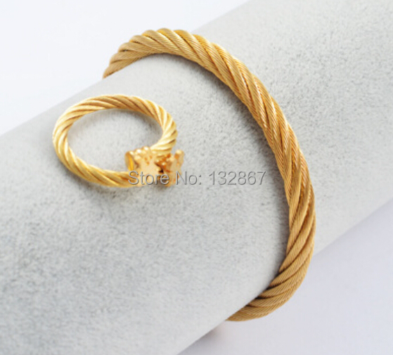 a0639fb9f55d7 US $16.99 |18k Gold Plated Women Jewelry Set Stainless Steel Wire Mesh  Lovely Bear Charms Open Bangle & Ring-in Jewelry Sets from Jewelry & ...