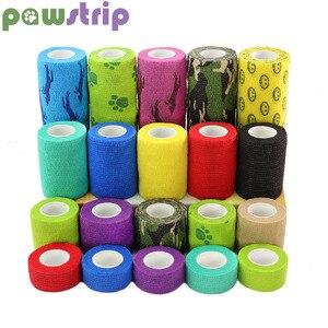 pawstrip 1 Roll Dog Bandage Medical Elastic Bandage Pet Vet Wrap Waterproof Self Adherent Accessories(1, 2, 3 or 4 Inches Width)(China)