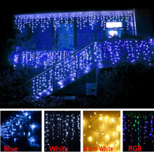 New LED Curtain Icicle String Light 5m 96Leds Christmas tree Garland LED Faily Xmas Party Garden Stage Outdoor Decorative Light(China)