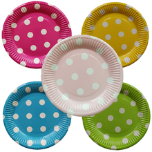 10pcs/lot Disposable Tableware for Birthday Wedding Party Dot Printed Decoration Suppliers Paper Plates Festa 7Inch
