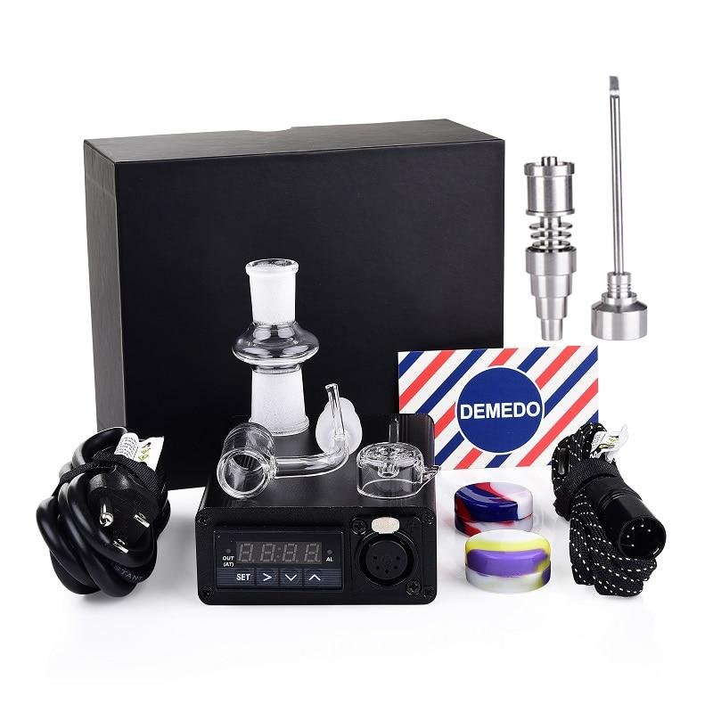 2 clous à Quartz avec clou en titane E Kit d'enail 10mm 14mm 18mm mâle 2 capuchon de charbon de Quartz 20mm bobine de chauffage PID contrôle de température