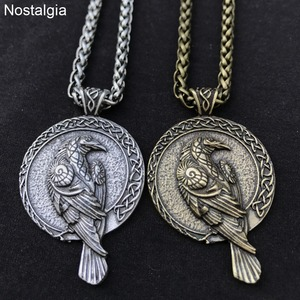 Odin Raven Talisman Amulet Viking Male Pendant Necklace Wicca Bird Jewelry Runes Neckless Wiccan Pagan Men Women Accessories(China)