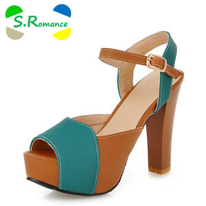 bd2d9dd6df S.Romance Sandals High Square Heel Pumps Woman Shoes Green