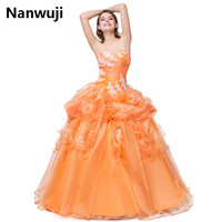 2016 Quinceanera Dress 15 Year Dresses Birthday Debutante Ball Gowns Sleeveless sweetheat Floor Length Appliques Beads Peach